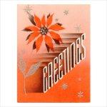 画像1: USAヴィンテージ1940年代紙ものクリスマスカード|2色刷りポインセチアと雪の結晶アンティークカード (1)