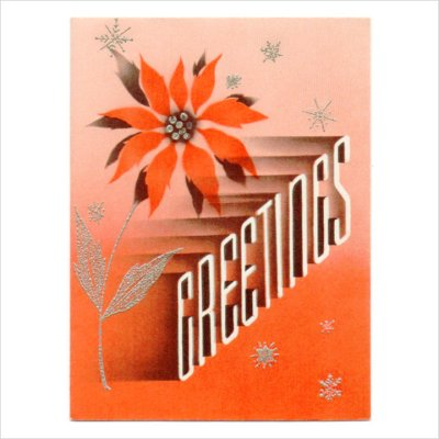 画像1: USAヴィンテージ1940年代紙ものクリスマスカード|2色刷りポインセチアと雪の結晶アンティークカード