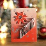 画像7: USAヴィンテージ1940年代紙ものクリスマスカード|2色刷りポインセチアと雪の結晶アンティークカード (7)