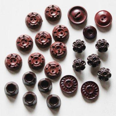 画像1: USAヴィンテージソーイングボタン茶色|プラスティック・ベークライト・ブラウン24個