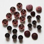 画像2: USAヴィンテージソーイングボタン茶色|プラスティック・ベークライト・ブラウン24個 (2)