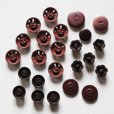 画像2: USAヴィンテージソーイングボタン茶色|プラスティック・ベークライト・ブラウン24個