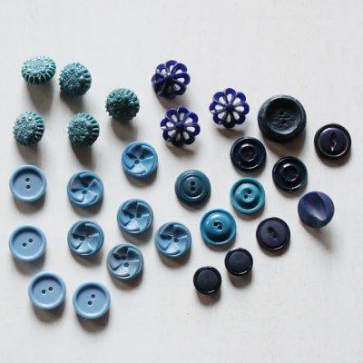 画像1: USAヴィンテージソーイングボタンブルー|プラスティック・ベークライト・青紺29個