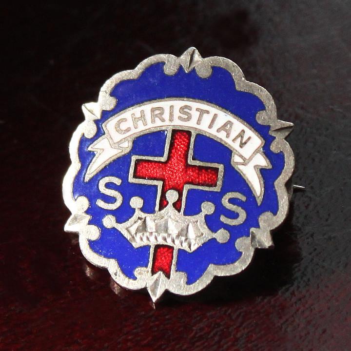 画像1: USAヴィンテージピンバッジ青|キリスト教聖品CHRISTIAN教会日曜学校メンバーブローチ (1)