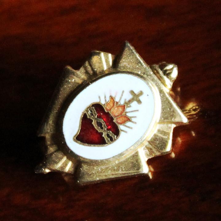 画像1: USAヴィンテージ聖心ピンバッジ|キリスト教聖品sacred heart of JesusカトリックブローチD (1)
