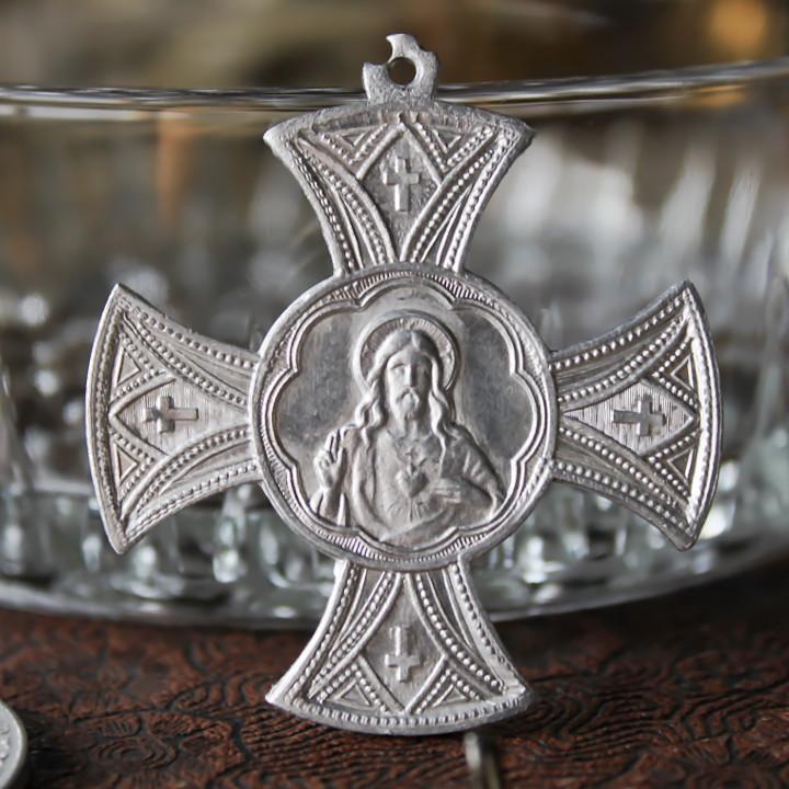 画像1: フランスヴィンテージクロス型メダイ|アンティークメダイイエスの聖心御心とカルメル山の聖母カトリック聖品 (1)