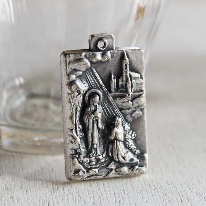 画像1: ルルドの泉無原罪の御宿りメダイ・イタリア|アンティークメダイカトリック聖品 (1)