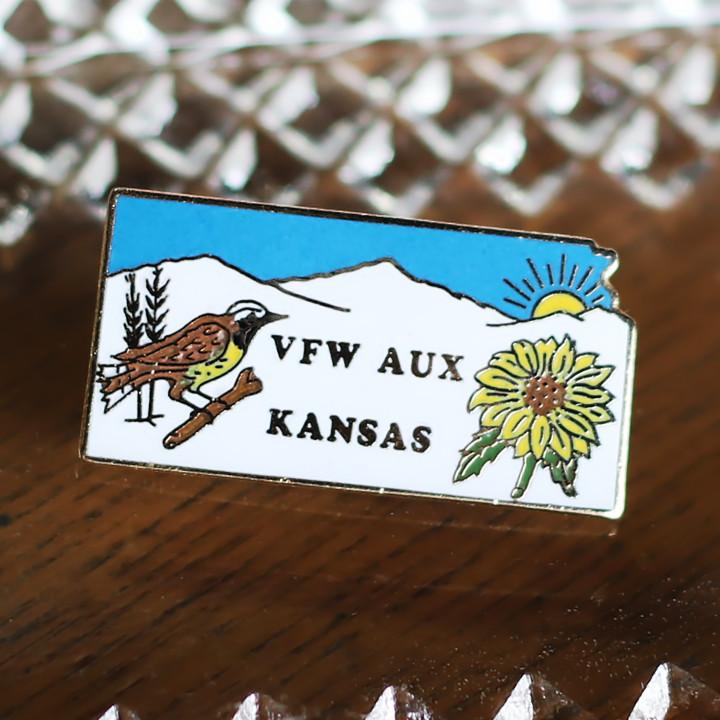 画像1: アメリカン雑貨ヴィンテージピンバッジ・ピンズ|VFW米軍退役軍人カンザス州鳥とひまわり (1)