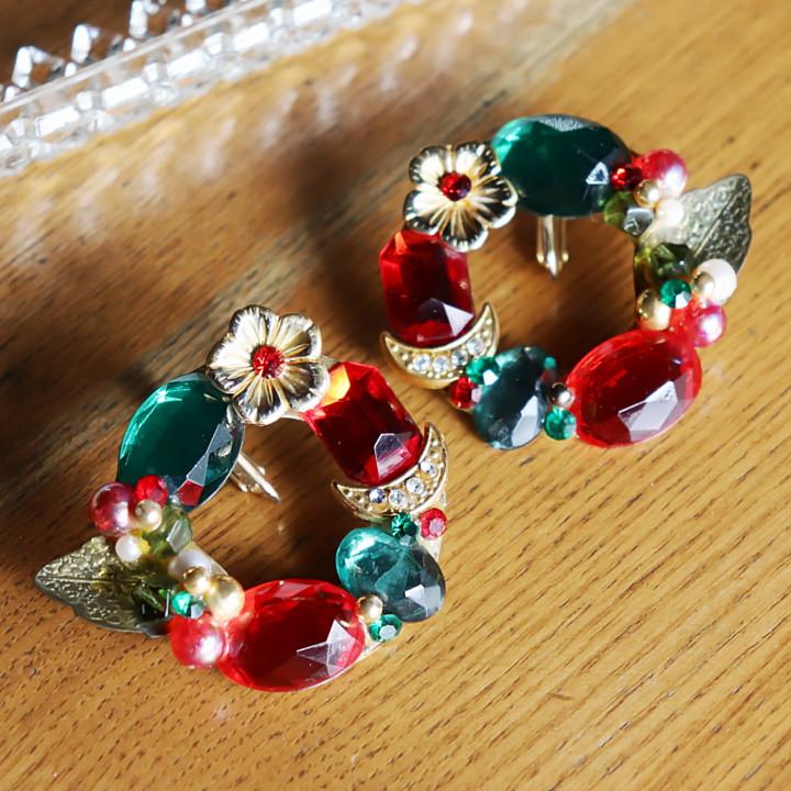 画像1: ヴィンテージコスチュームジュエリーイヤリング赤緑宝石ラインストーン|アンティークジュエリー (1)