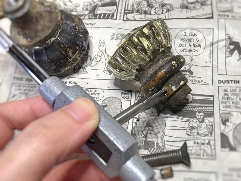 アンティークガラス製ドアノブA|USAヴィンテージ硝子ノブ真鍮座金ドアハンドル取手