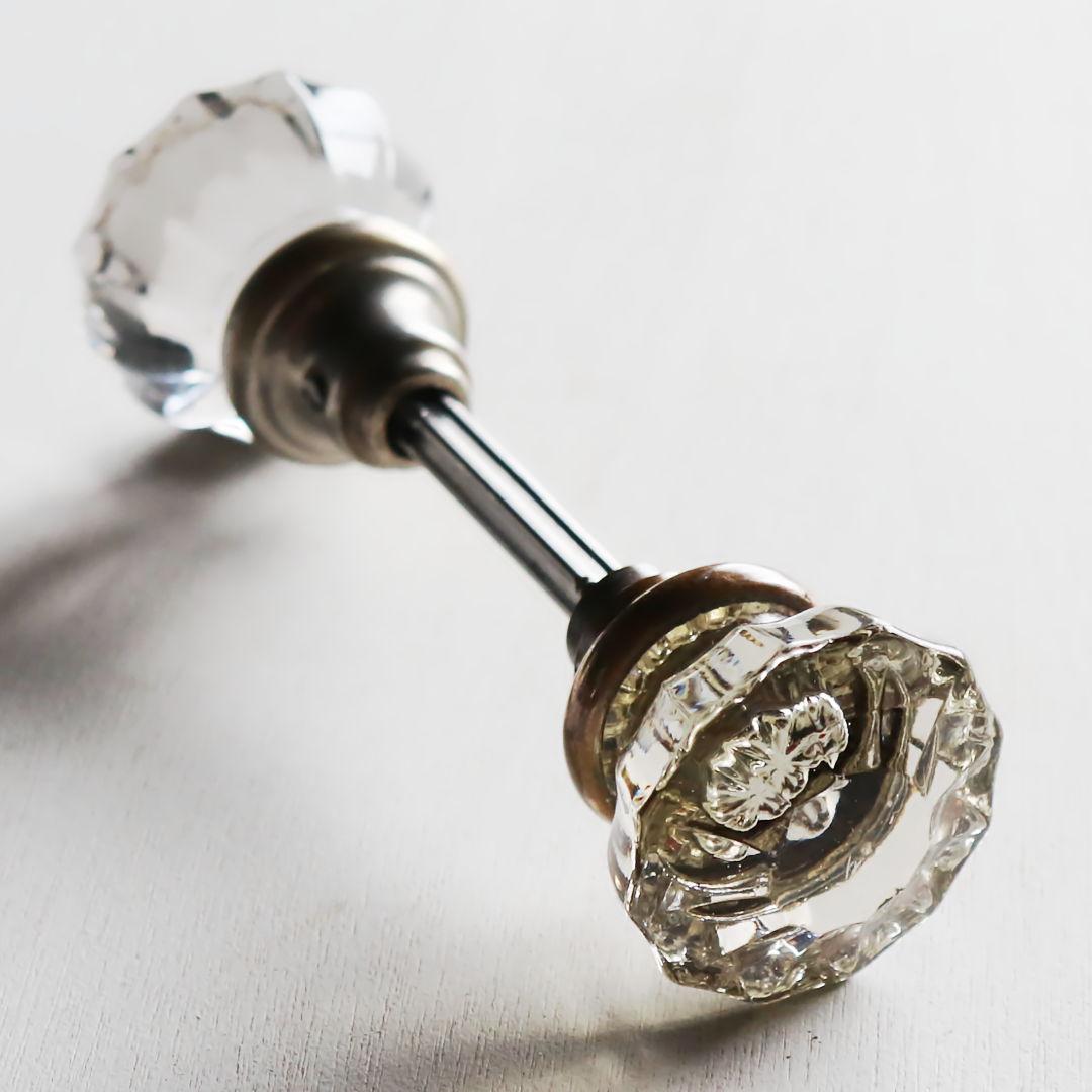 画像1: アンティークガラス製ドアノブB|USAヴィンテージ硝子ノブ真鍮座金ドアハンドル取手 (1)