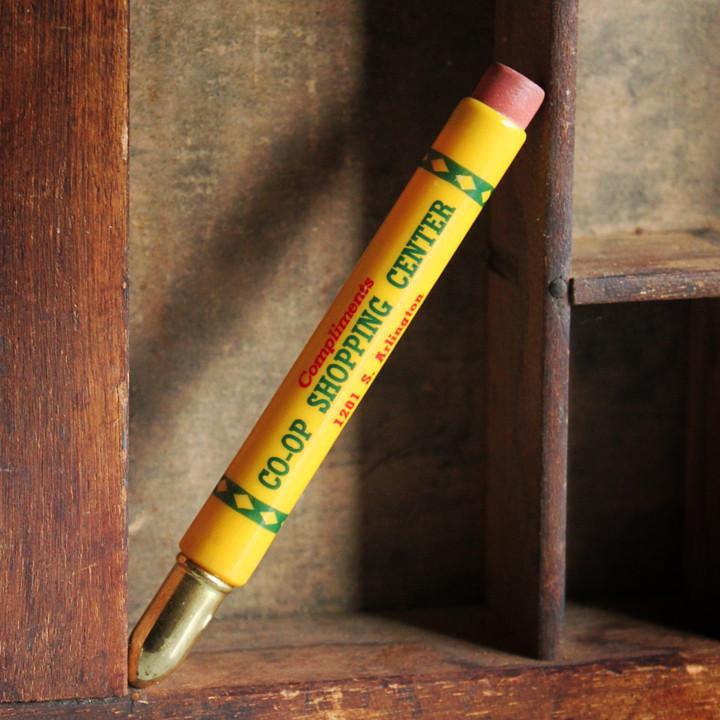 画像1: USAアメリカヴィンテージバレットペンシル|弾丸型アドバタイジング鉛筆CO-OP SHOPPING CENTER (1)