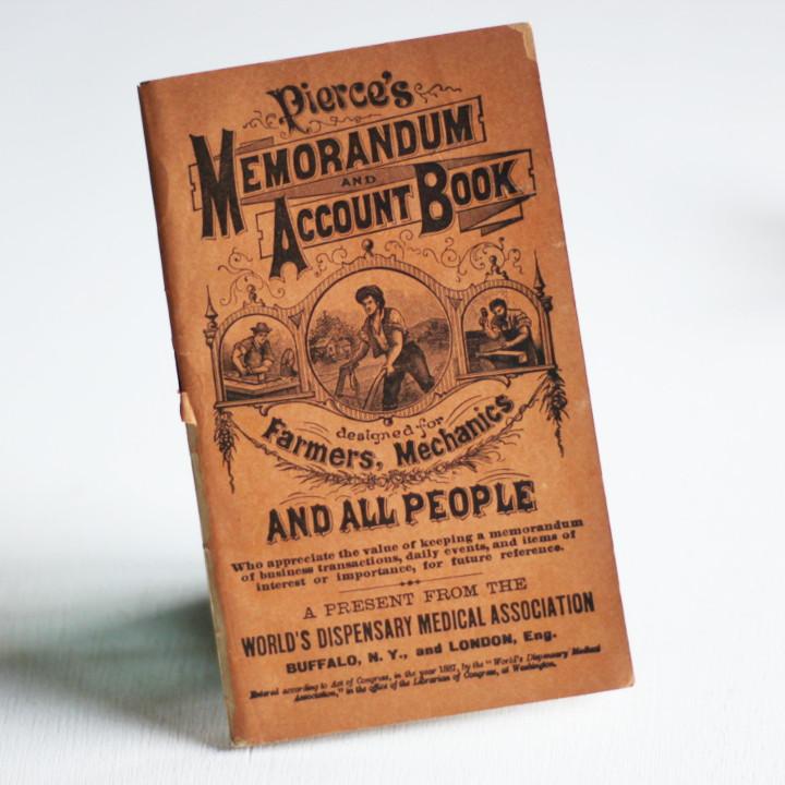 画像1: USAアンティーク紙ものノートブックレット1887年|Pierce's医療と健康の覚書帳簿 (1)