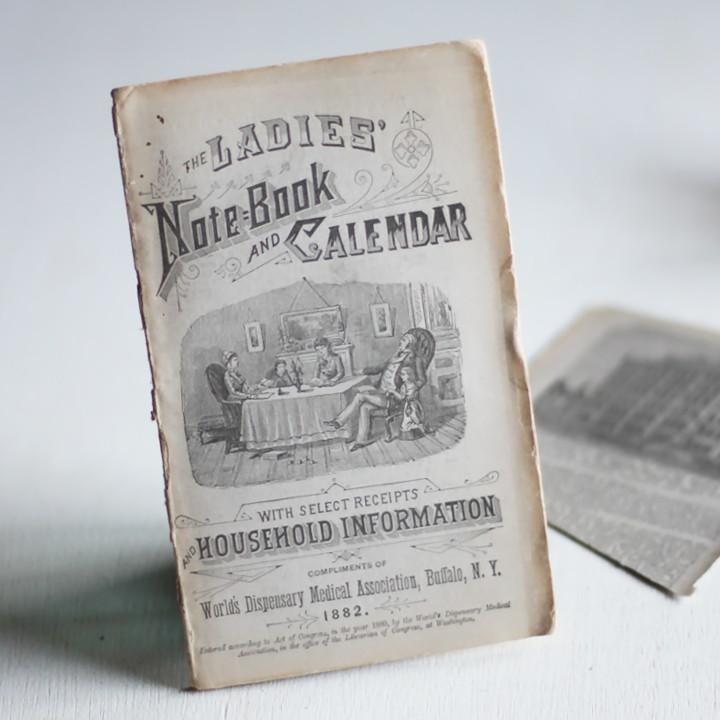 画像1: USAアンティーク紙もの女性用ノートブックレット1882年|メモ帳&カレンダー (1)