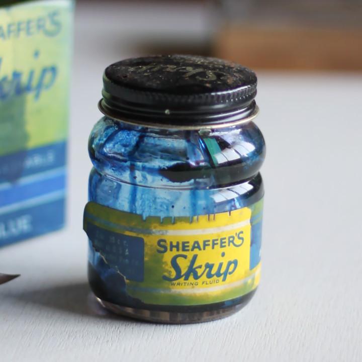 画像1: USAヴィンテージガラスインクボトル2oz|sheaffer skrip ink bottleガラス瓶RC-35 (1)