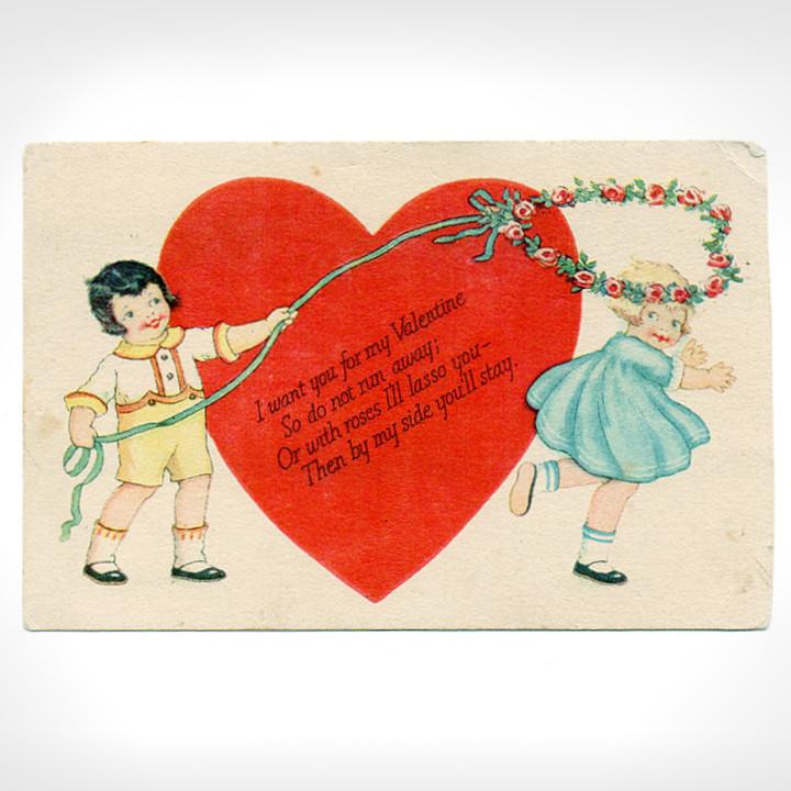 画像1: USAヴィンテージ1929年紙ものバレンタイングリーティングカード|ハート・男の子・女の子 (1)