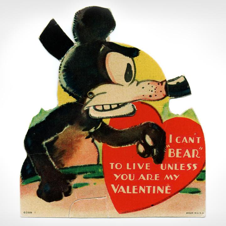 画像1: USAヴィンテージ1936年紙ものバレンタイングリーティングカード|ハート・ねずみ・くま (1)