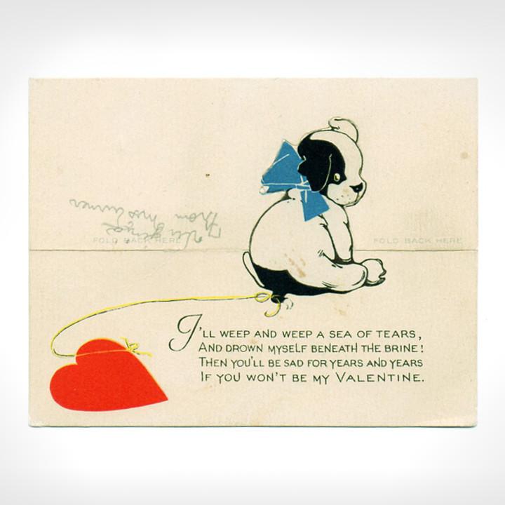 画像1: USAヴィンテージ1923年紙ものバレンタインデーグリーティングカード|子犬とハート・アンティーク紙もの (1)