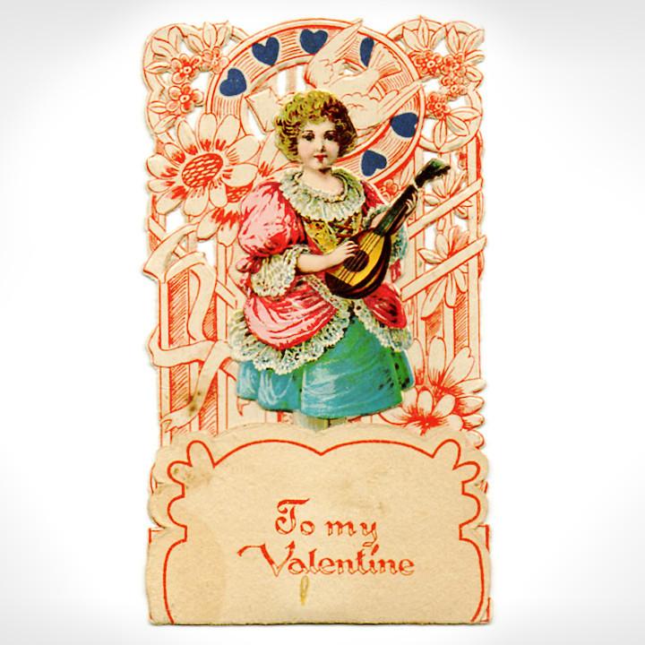 画像1: USAヴィンテージ1930年代紙ものバレンタインデーグリーティングカード|To my Valentine天使・男の子アンティーク (1)