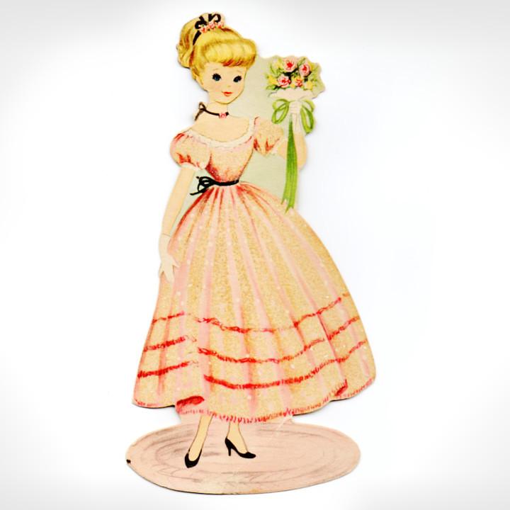 画像1: USAヴィンテージエフェメラ紙もの・ドレスを着た女の子プリンセス|アンティーク (1)