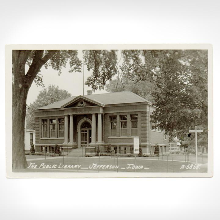 画像1: USAヴィンテージアイオワ州ジェファーソン公共図書館写真ポストカード|アンティーク紙もの (1)