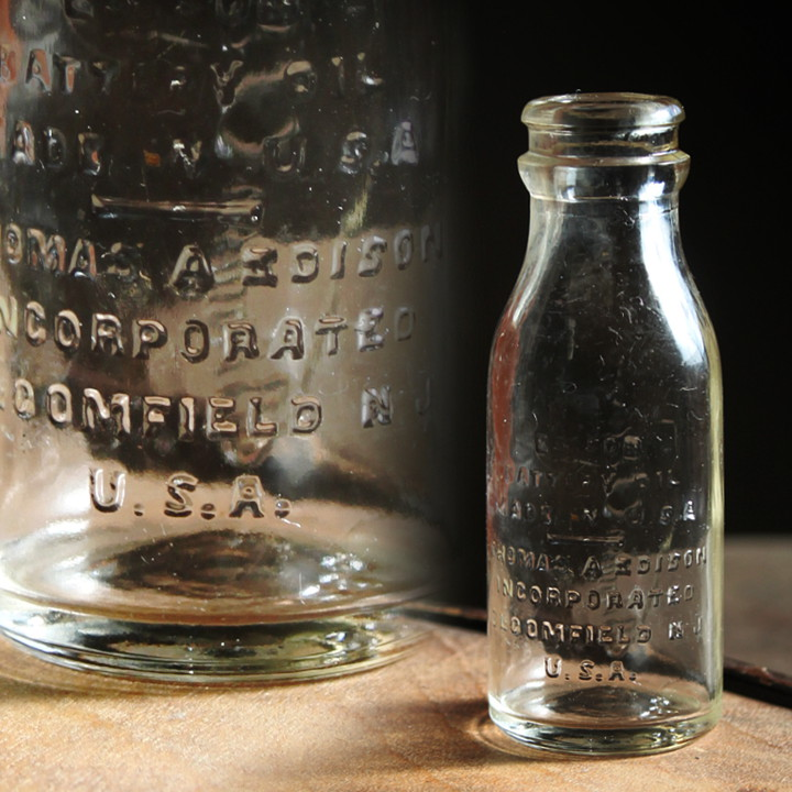 画像1: USAアメリカヴィンテージエジソンバッテリーオイルガラスボトルA|鉄道オートモータース車 (1)