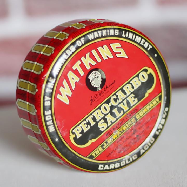 画像1: USAヴィンテージティン缶アドバタイジング|WATKINS PETRO-CARBO-SALVE薬 (1)