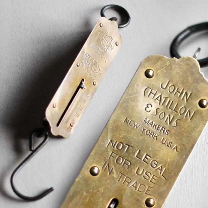 画像1: USAヴィンテージハンギングスケール25LB|真鍮量りポケットバランスJOHN CHATILLON & SONS (1)