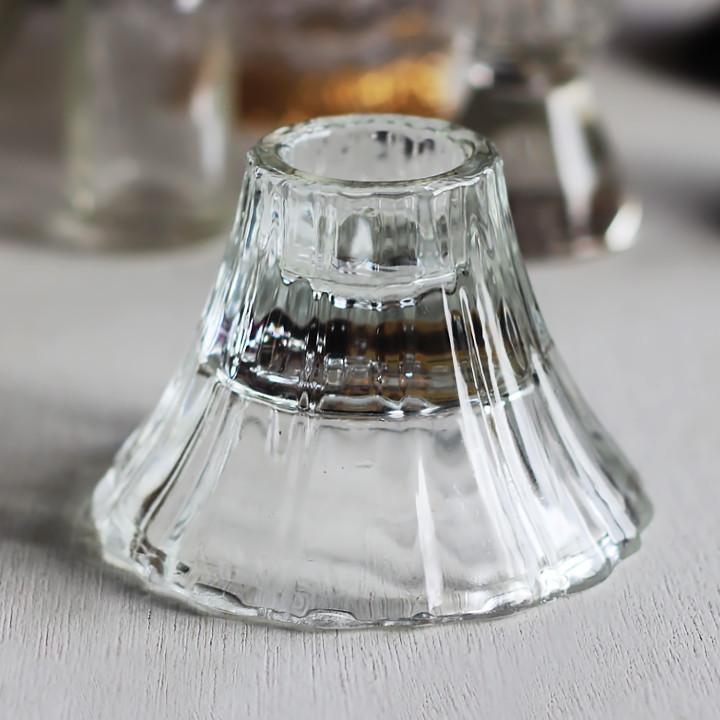 画像1: アメリカヴィンテージHOMCOクリアガラスキャンドルスタンドホルダー|アンティークグラス (1)