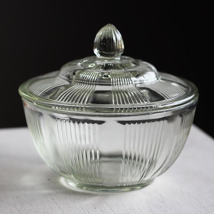 画像1: ヴィンテージガラスの小物入れキャンディポットアクセサリーケース|S.G.F.戦前アンティーク硝子容器昭和レトロ (1)