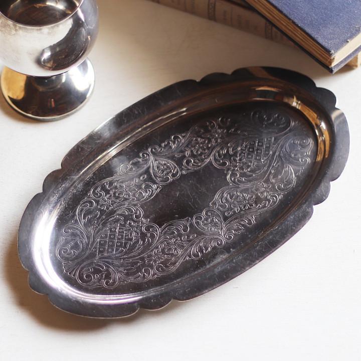 画像1: 英国イギリス製ヴィンテージシルバープレートトレー彫刻装飾エングレービング|アンティーク銀食器銀メッキ (1)