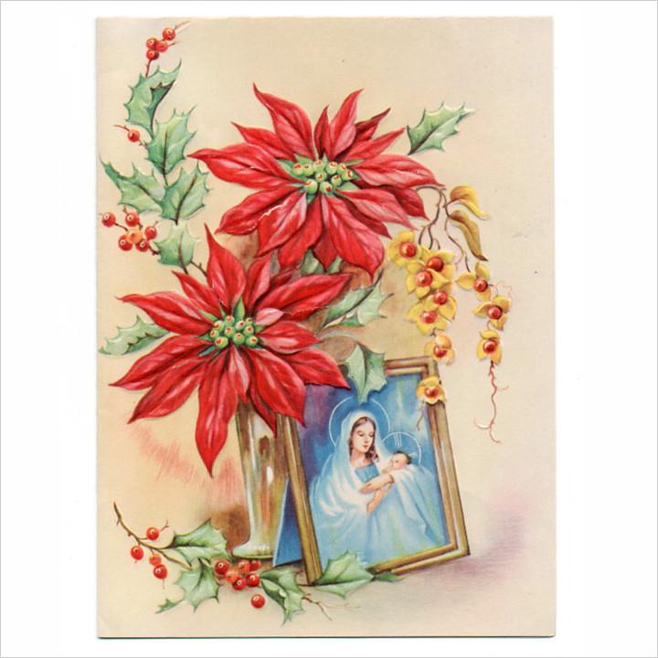 画像1: USAヴィンテージ1950年紙ものクリスマスカード|聖母子聖母マリアポインセチア・アンティークポストカード (1)