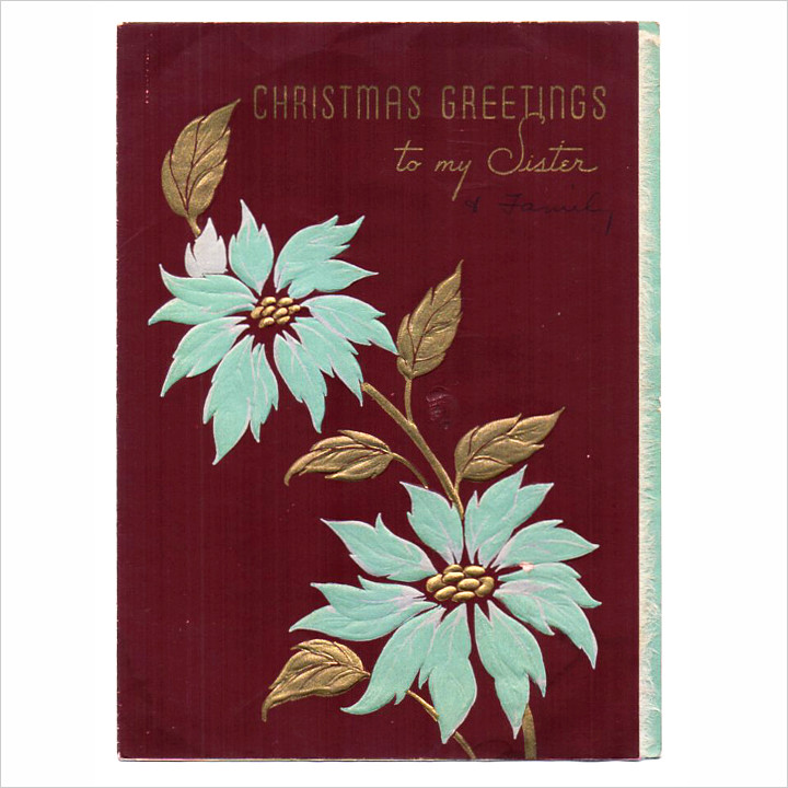 画像1: USAヴィンテージ1950年代紙ものクリスマスカード ポインセチア・ジングルベルアンティークポストカード (1)