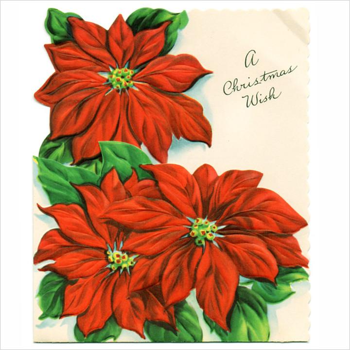 画像1: USAヴィンテージ1950年代紙ものクリスマスカード|ポインセチア・christmas wishアンティークポストカード (1)