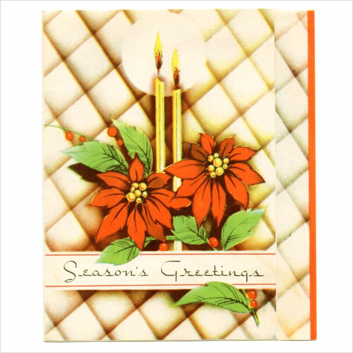 画像1: USAヴィンテージ1950年代紙ものクリスマスカード アーガイル・ポインセチア・キャンドルアンティークカード (1)