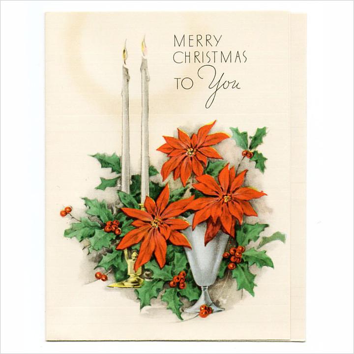 画像1: USAヴィンテージ1950年代紙ものクリスマスカード|ポインセチア・キャンドル・ヒイラギ・アンティークカード (1)