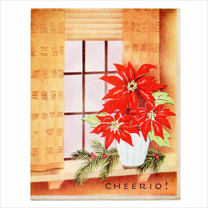 画像1: USAヴィンテージ1950年代紙ものクリスマスカード|ポインセチア・もみの木・窓辺cheerioアンティークカード (1)