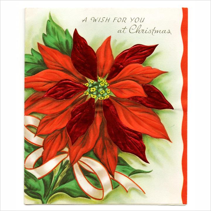 画像1: USAヴィンテージ1950年代紙ものクリスマスカード ポインセチアのグリーティングアンティークカード (1)