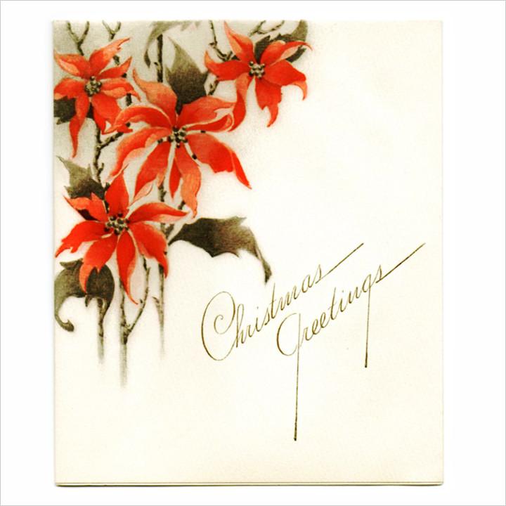 画像1: USAヴィンテージ1940年代紙ものクリスマスカード|2色刷りポインセチアと雪景色・アンティークカード (1)