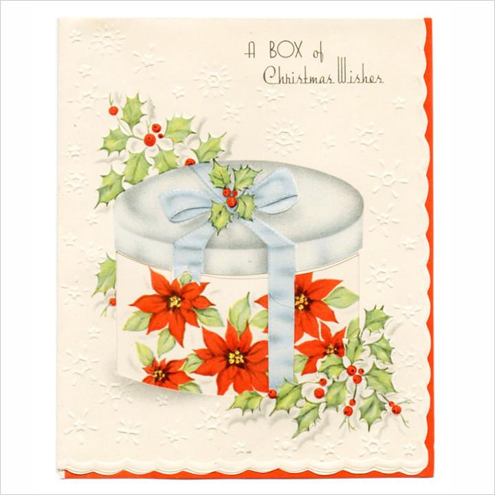 画像1: CANADAヴィンテージ1950年代紙ものクリスマスカード|プレゼントとポインセチアのアンティークカード (1)