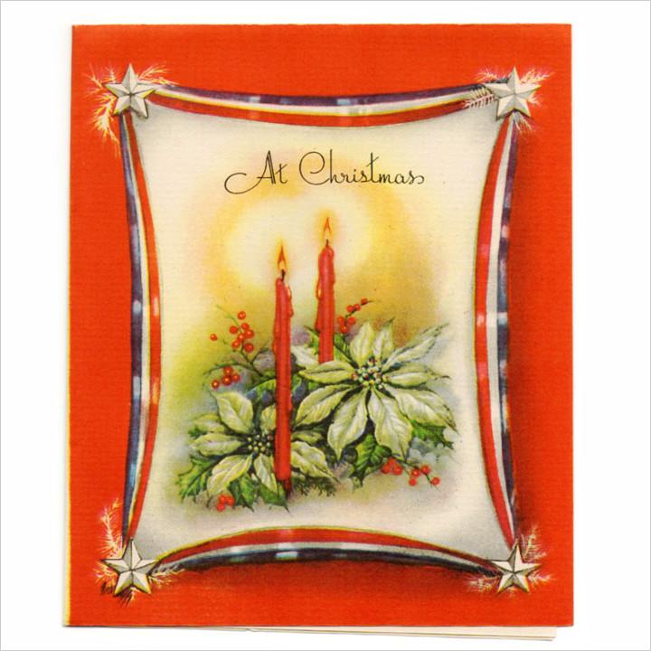 画像1: USAヴィンテージ1940年代紙ものクリスマスカード|アメリカ星条旗・ポインセチアとキャンドルアンティークカード (1)