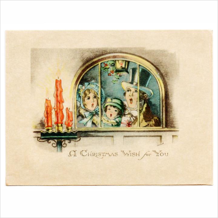 画像1: USAアンティーククリスマスカード1920年代紙もの|クリスマスイブに賛美歌クリスマスキャロルを歌う家族 (1)