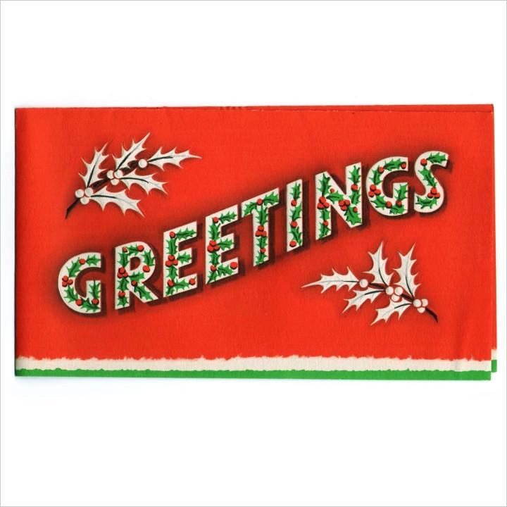 画像1: USAヴィンテージ1950年代クリスマスカード|公共図書館グリーティングカードアンティーク紙もの (1)