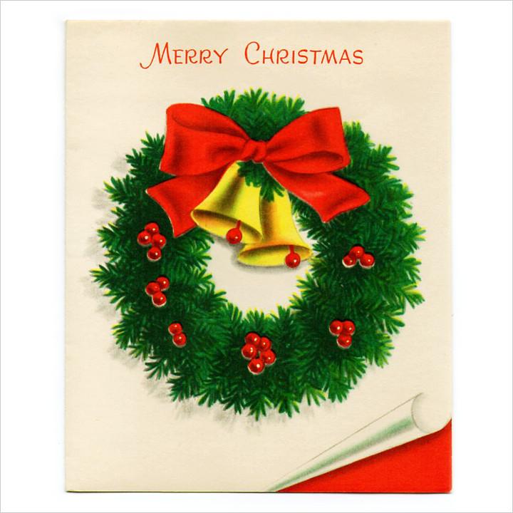 画像1: USAヴィンテージ1950年代クリスマスカードもみの木のリースとジングルベル|アンティーク紙もの (1)