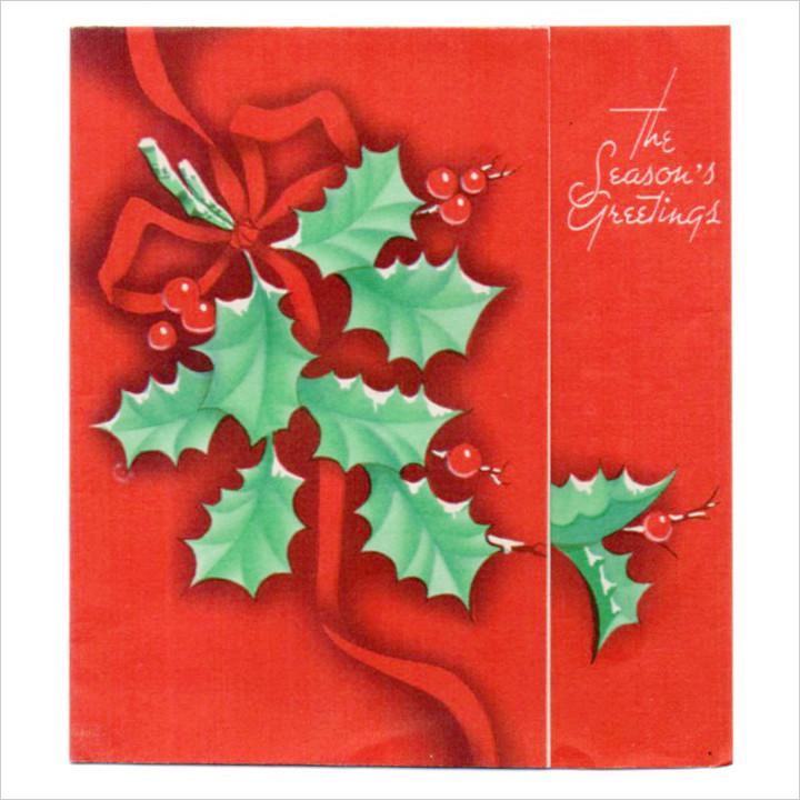 画像1: USAヴィンテージ1940年代柊とリボン真っ赤なクリスマスカード|アンティーク紙ものグリーティング (1)
