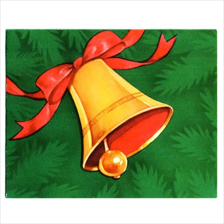 画像1: USAヴィンテージ1940年代紙ものクリスマスカード|Hawthorne-Sommerfieldジングルベルのアンティークカード (1)