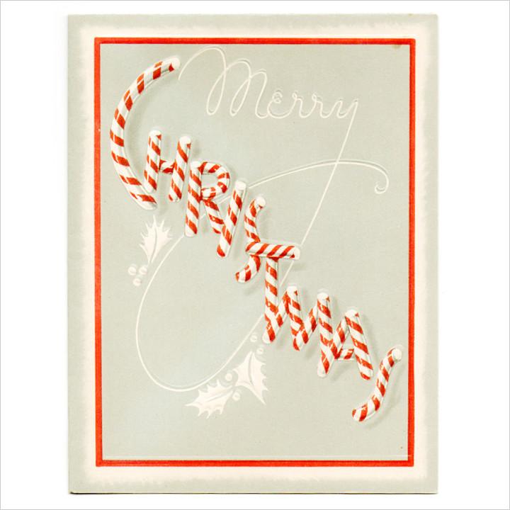 画像1: USAヴィンテージ1940年代紙ものクリスマスカード|キャンディケインのアンティークカード (1)
