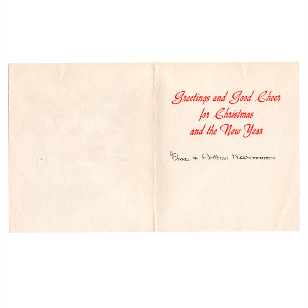 USAヴィンテージ1940年代紙ものクリスマスカード サンタクロースの ...